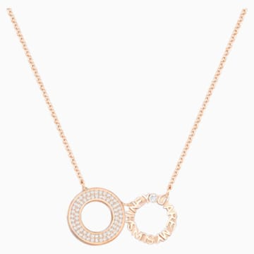 Admiration Round Necklace, White, Rose-gold tone plated - Swarovski, 5290144