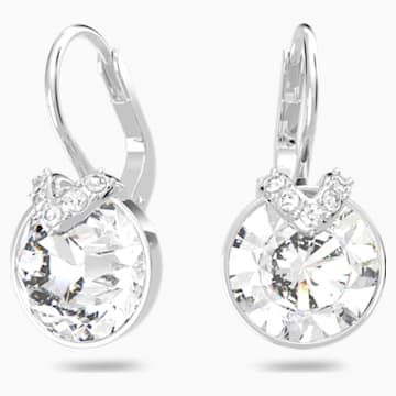 Bella V 穿孔耳环, 白色, 镀铑 - Swarovski, 5292855