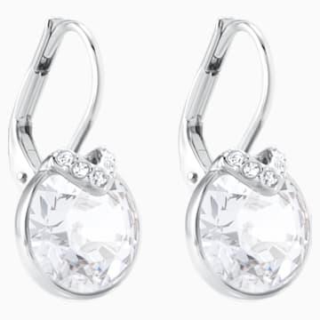 Bella V 穿孔耳環, 白色, 鍍白金色 - Swarovski, 5292855
