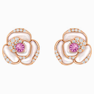 18K RG Geranium Pierced Earrings - Swarovski, 5294528