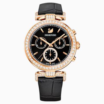 Montre Era Journey, Bracelet en cuir, noir, PVD doré rose - Swarovski, 5295320