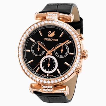 Era Journey-horloge, Leren horlogebandje, Zwart, Roségoudkleurig PVD - Swarovski, 5295320