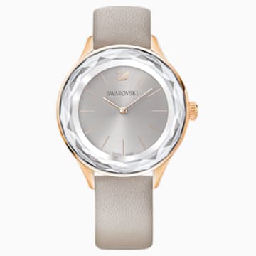 Octea Nova 腕表, 真皮表带, 灰色, 玫瑰金色调 PVD - Swarovski, 5295326