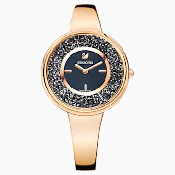 Montre Crystalline Pure, Bracelet en métal, noir, PVD doré rose - Swarovski, 5295334