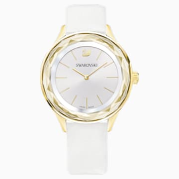 Octea Nova 腕表, 真皮表带, 白色, 金色调 PVD - Swarovski, 5295337