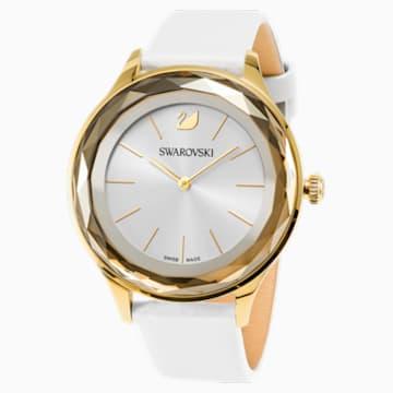 Octea Nova Uhr, Lederarmband, weiss, Vergoldetes PVD-Finish - Swarovski, 5295337