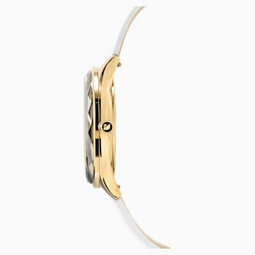 Octea Nova Watch, Leather strap, White, Gold-tone PVD - Swarovski, 5295337