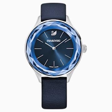 Octea Nova-horloge, Leren horlogebandje, Blauw, Roestvrij staal - Swarovski, 5295349
