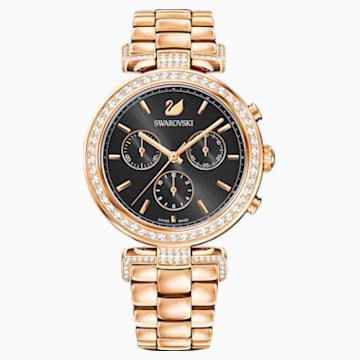 Era Journey Часы, Металлический браслет, Серый Кристалл, PVD-покрытие оттенка розового золота - Swarovski, 5295366