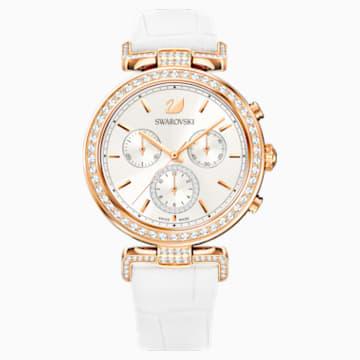 Reloj Era Journey, Correa de piel, blanco, PVD en tono Oro Rosa - Swarovski, 5295369