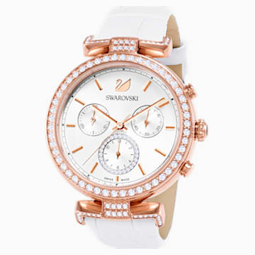 Era Journey Часы, Кожаный ремешок, Белый Кристалл, PVD-покрытие оттенка розового золота - Swarovski, 5295369