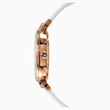 Zegarek Era Journey, pasek ze skóry, biały, powłoka PVD w odcieniu różowego złota - Swarovski, 5295369