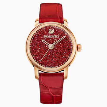 Crystalline Hours-horloge, Leren horlogebandje, Rood, Roségoudkleurig PVD - Swarovski, 5295380