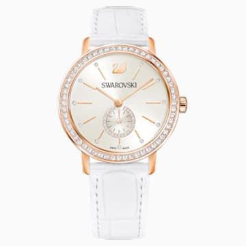Graceful Lady Watch, Leather strap, White, Rose-gold tone PVD - Swarovski, 5295386
