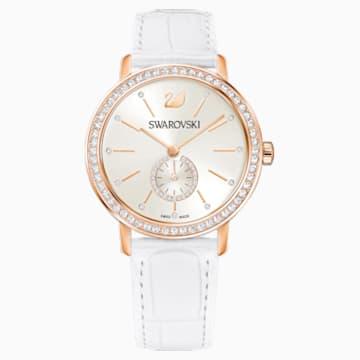 Montre Graceful Lady, Bracelet en cuir, blanc, PVD doré rose - Swarovski, 5295386