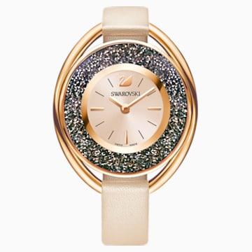 Crystalline Oval Watch, Leather strap, Beige, Rose gold tone - Swarovski, 5296319