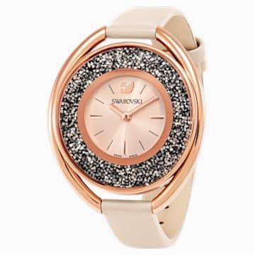 Crystalline Oval 腕表, 真皮表带, 米色, 玫瑰金色调 - Swarovski, 5296319