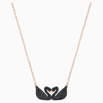Swarovski Iconic Swan Колье, Черный Кристалл, Покрытие оттенка розового золота - Swarovski, 5296468