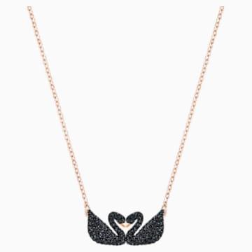 Swarovski Iconic Swan 项链, 黑色, 镀玫瑰金色调 - Swarovski, 5296468