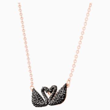 Swarovski Iconic Swan 項鏈, 黑色, 鍍玫瑰金色調 - Swarovski, 5296468