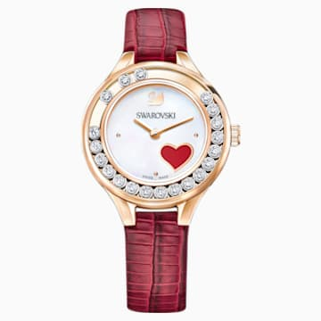 Lovely Crystals Mini Watch, Leather strap, Red, Rose gold tone - Swarovski, 5297584