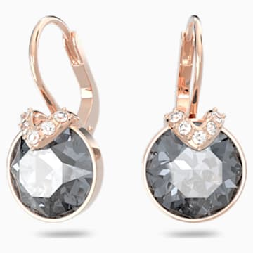 Bella V Pierced Earrings, Gray, Rose-gold tone plated - Swarovski, 5299317