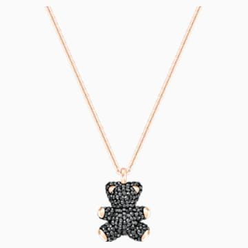 Teddy 3D Pendant, Black, Rose-gold tone plated - Swarovski, 5300448