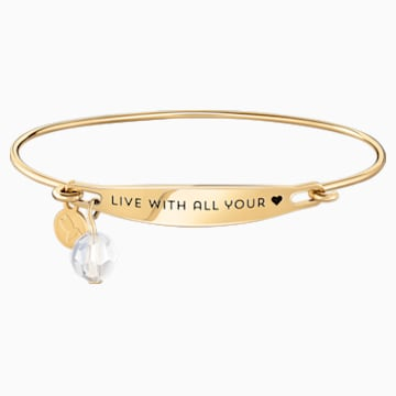 Live With All Your Heart ID Bangle - Gold - Swarovski, 5301772