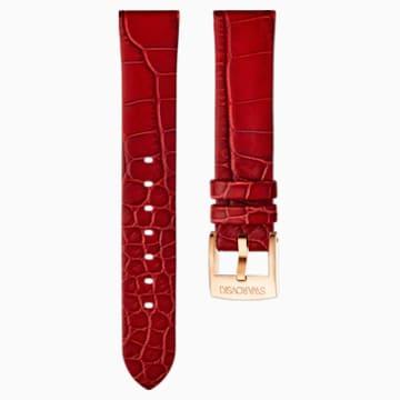 Correa de reloj 18mm, Piel, rojo, baño tono oro rosa - Swarovski, 5302064