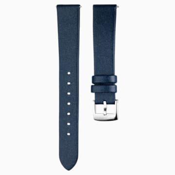 16mm Watch strap, Leather, Blue, Stainless Steel - Swarovski, 5302282