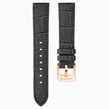 18mm Watch strap, Leather with stitching, Dark grey, Rose-gold tone plated - Swarovski, 5302461