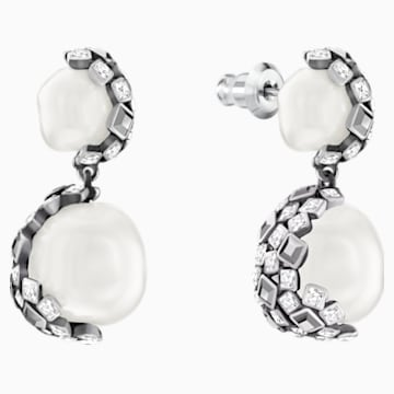 Has Pierced Earrings, White, Silver plating - Swarovski, 5345337