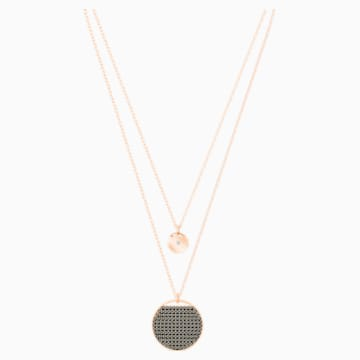 Ginger Layered Pendant, Gray, Rose-gold tone plated - Swarovski, 5347299