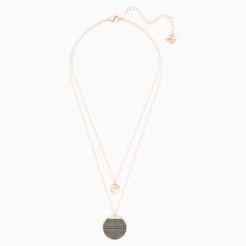 Ginger Layered Pendant, Gray, Rose-gold tone plated - Swarovski, 5347299