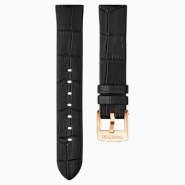 Correa de reloj 18mm, Piel, negro, baño tono oro rosa - Swarovski, 5348552