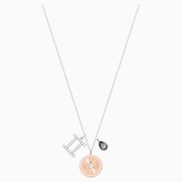 Zodiac Pendant, Gemini, Grey, Rhodium plated - Swarovski, 5349217