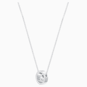 Hollow Pendant, White, Rhodium plated - Swarovski, 5349348