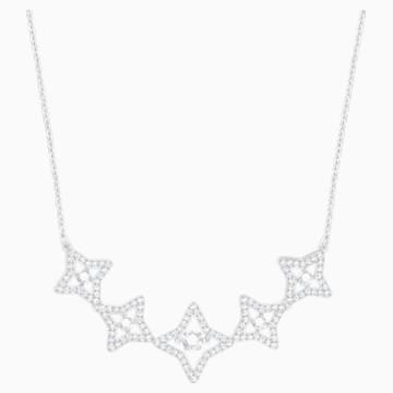 Sparkling Dance Star Necklace, Medium, White, Rhodium plating - Swarovski, 5349663