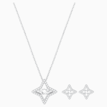 Set Sparkling Dance Star, bianco, Placcatura rodio - Swarovski, 5349667