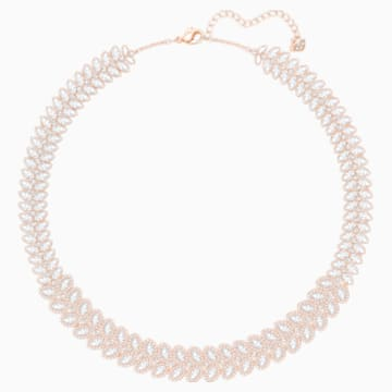 Baron Necklace, White, Rose-gold tone plated - Swarovski, 5350615