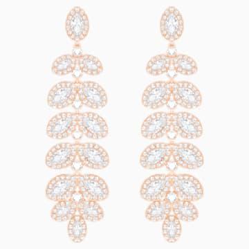 Kolczyki sztyftowe Baron, białe, powłoka w odcieniu różowego złota - Swarovski, 5350617