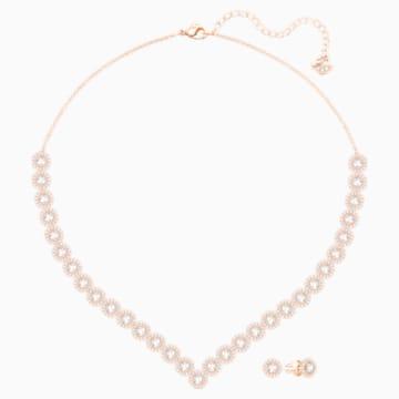 Angelic Square Set, Large, White, Rose-gold tone plated - Swarovski, 5351304