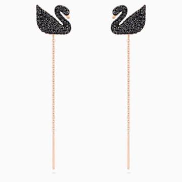 Swarovski Iconic Swan 穿孔耳环, 黑色, 镀玫瑰金色调 - Swarovski, 5351805