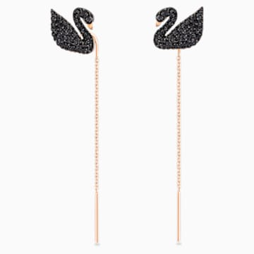 Swarovski Iconic Swan Pierced Earrings, Black, Rose-gold tone plated - Swarovski, 5351805