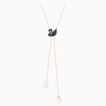 Swarovski Iconic Swan Y-образное колье, Черный Кристалл, Покрытие оттенка розового золота - Swarovski, 5351806