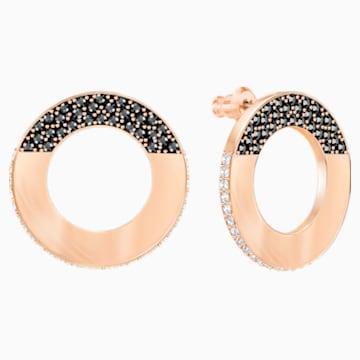 Hoop Fever Round Pierced Earrings, Black, Rose gold plating - Swarovski, 5352005