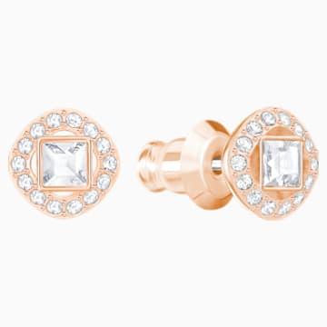 Boucles d'oreilles Angelic Square, blanc, Métal doré rose - Swarovski, 5352049
