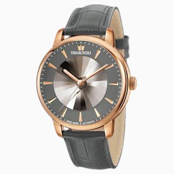 Automatické pánské hodinky limitované edice Atlantis, s koženým páskem, šedé, PVD v odstínu růžového zlata - Swarovski, 5364203