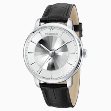 Atlantis Limited Edition Automatic Men's Watch, Leather strap, White, Stainless steel - Swarovski, 5364206