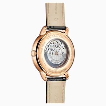 Męski zegarek automatyczny Atlantis limitowanej edycji, pasek ze skóry, czarny, powłoka PVD w odcieniu różowego złota - Swarovski, 5364212